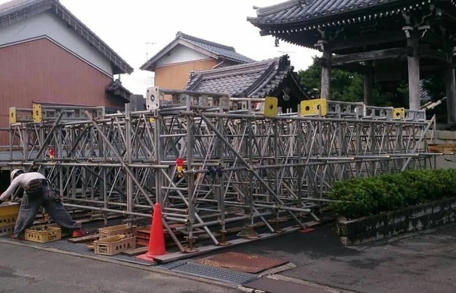 滋賀県日野町 釣鐘堂 曳家工事